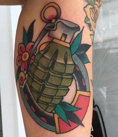 #grenade #tattoo #idea #color #horseshoe #mass #bridgewater #coverup Deep Tattoo, Arm Tattoo, Body Art Tattoos, Sleeve Tattoos, Tattoo Drawings, Traditional Tattoo Prints, Traditional Ink, Daisy Tattoo Designs, Old School Tattoo Designs