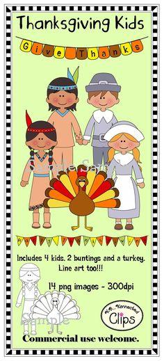 Thanksgiving Kids $ http://www.teacherspayteachers.com/Product/Thanksgiving-Kids-includes-line-art-964723