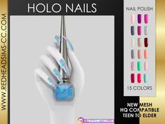 Nails: Holo Nail from Red Head Sims The Sims 4 Pc, Sims 1, Sims 4 Mods, Sims 4 Nails, Cc Nails, Maxis, The Sims 4 Cabelos, Sims 4 Collections, Sims 4 Cc Packs