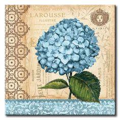 GOR_387_Hydrangea / Cuadro Flores, Flor azul sobre fondo Vintage