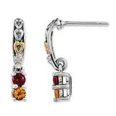Honor Mom and celebrate family with these customized drop earrings. Crafted in antiqued sterling silver, each earring showcases a demure dangle comprised of the two simulated birthstones you select. Topped with a diamond accent and 14K gold heart detailing, these post earrings are polished to a brilliant shine and secure with comfortable friction backs.