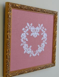 Beautiful French Rose Heart PDF Instant Download Cross Stitch Pattern by Sew French. White silk on raspberry linen. Optional seed beads. Elegant and timeless cross stitch. Shabby Chic!