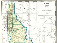 1936 Antique LARGE IDAHO State Map Vintage Map of Idaho Poster Wall Art Home Decor Gift For Traveler Wedding Birthday Anniversary 11590 by plaindealing on Etsy