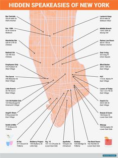 This map shows you where to find 26 of the best hidden bars in New York City : BI_Graphics_hidden speakeasy bars of manhattan Empire State Building, Empire State Of Mind, Usa Roadtrip, Travel Usa, New York Bar, New York City Bars, Speakeasy Bar, Voyage New York, New York City Travel