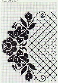 Low interest rate home loans for interior design (Pattern) – Crochet Filet Cross Stitch Rose, Cross Stitch Borders, Cross Stitch Flowers, Cross Stitch Designs, Cross Stitching, Cross Stitch Embroidery, Cross Stitch Patterns, Filet Crochet Charts, Crochet Motifs