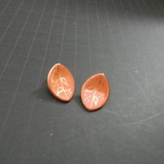 "Vintage Handmade Concave ""Leaf"" in Clay Clip-On Earrings-approx. 3/4"" Long"