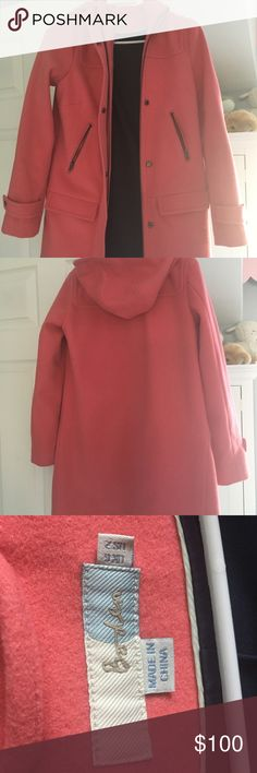 Boden winter coat, never worn Beautiful lined wool Boden winter coat in a pinkish coral color, never worn.  Size US 2/UK 6 Boden Jackets & Coats