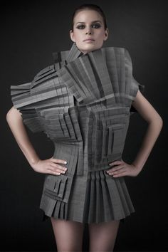 Architectural Fashion - textural paper dress with complex folded design - sculptural origami fashion; wearable art; 3D fashion // Morana Kranjec