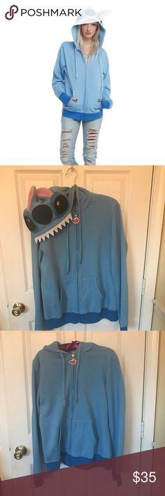 Lilo and Stitch Costume Hoodie Zip hoodie from Disney's Lilo & Stitch with a fiercely adorable Stitch cosplay design. 60% cotton; 40% polyester, Juniors sizing. Super cute and barely worn, open to reasonable offers. No non poshmark transactions please. Disney Tops Sweatshirts & Hoodies