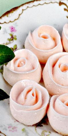 Swiss Meringue Ribbon Rose Cookies - how perfectly sweet for spring or a Mother's Day treat