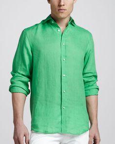 Ralph Lauren Black Label Linen Sport Shirt, Green - Bergdorf Goodman