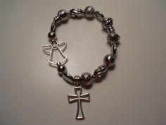 Angel & Cross Silver-tone Metal Bracelet, Chaos to Christ OOAK Bracelet…