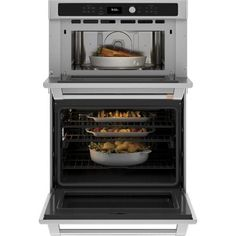 Cafe 30 in. Double Electric Wall Oven With Convection and Advantium Self Cleaning in Stainless Steel-CTC912P2NS1 - The Home Depot French Door Wall Oven, Electric Wall Oven, Cafe Wall, Single Oven, Oven Cleaning, Oven Racks, Kitchen Appliances, Home, Stainless Steel