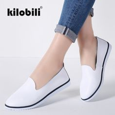 kilobili Women Ballet Flats Shoes Genuine Leather Slip on ladies Shallow Moccasins Casual Shoes Female Summer Loafer Shoes Women Price: & Flat Rate Shipping Casual Loafers, Casual Shoes, Mocassins, Men With Street Style, Leather Loafer Shoes, Luxury Shoes, Leather Slip Ons, Womens Flats, Boat Shoes