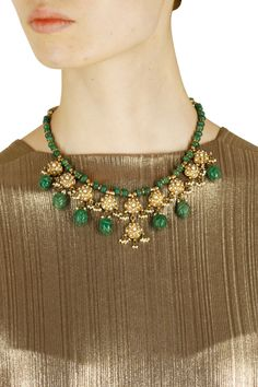 Gold finish green stone and jhumki drop necklace available only at Pernia's Pop Up Shop.
