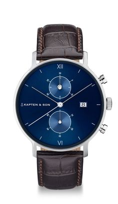Silver Chronograph for men with leather strap | Kapten & Son