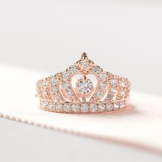 Sterling Silver Rose Gold Tiara Ring  Princess Crown Ring by ZAKVI