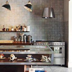 Vintage lighting in the kitchen.