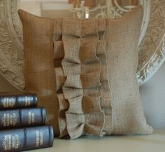 Burlap ruffle pillow cover. How cute is this? Need ideas for new pillows on our bed.