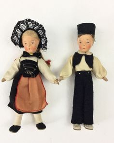 Vintage Handmade Doll Set Boy & Girl Ethnic Dolls Wedding Cake Topper Anniversay Altered Art Supply Creepy Halloween Valentine Decoration by injoytreasures on Etsy