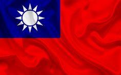 Download wallpapers Taiwan flag, Taiwan, silk flag, Pacific region, flag of Taiwan