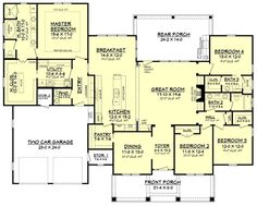 Craftsman Style House Plan - 4 Beds 3 Baths 2639 Sq/Ft Plan Main Floor Plan - turn bedroom into sunroom and rearrange guest bath/extend great room? + add third stall to garage Craftsman Style House Plans, Dream House Plans, House Floor Plans, Craftsman Farmhouse, Modern Farmhouse, Dream Houses, Craftsman Ranch, Farmhouse Plans, Country Farmhouse