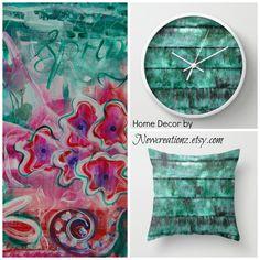 Home decor treasures by Jocelyn Friis of Newcreationzart.com #homedecor #clocks #pillows #wallart