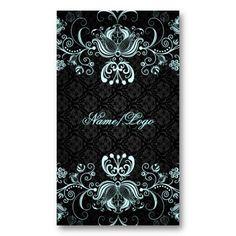 Elegant Black and White Designer Damask Business Cards | Elegant ...