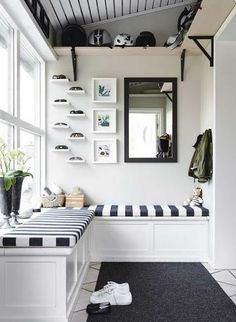 Mudroom | Fab idea to have a high shelf for helmet storage and a boxed seat with a hinged lid to hide bits and bobs away, like dog stuff and shoes.