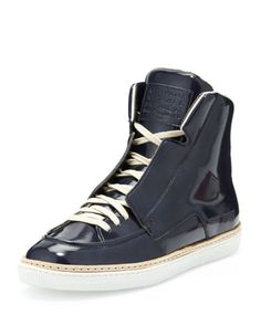 College Patent Leather High-Top, Blue by Maison Martin Margiela at Bergdorf Goodman.