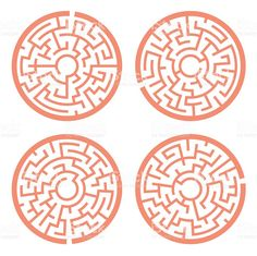 orange circular maze set royalty-free stock vector art