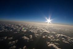 Sunrise over a smoky Northern Nevada taken from a balloon ~ Photo by...lacomj©