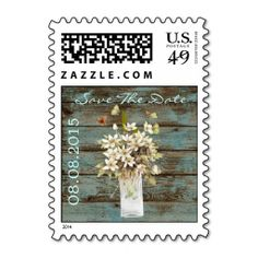 vintage rustic teal  country wedding save the date stamp. Wanna make each letter a special delivery? Try to customize this great stamp template and put a personal touch on the envelope. Just click the image to get started!