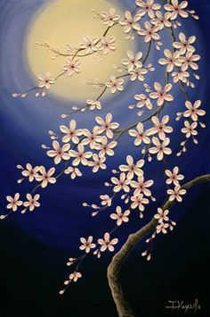 Original acrylic art -Moon Night Cherry Blossoms-, Tomoko Koyama