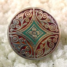 Vintage Deccan button from India.  The next photo is of the back mark.  One of the most unusual I've ever seen.  Mid 1900's.