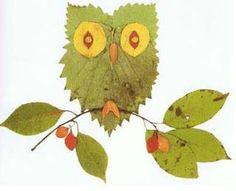 lavoretti creativi con le foglie: gufo
