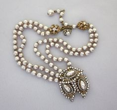 Signed MIRIAM HASKELL Pearl Necklace, Baroque Pearl, Clear Rhinestones, Bridal Necklace, Wedding Jewelry, Vintage Haskell - JryenDesigns