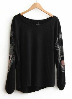 Camiseta asimétrica Leopardo mangas largas-Negro EUR€16.48