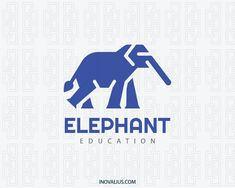 Logo with the shape of an elephant composed of abstract shapes with blue and gray colors. ( education, elephant, animal, mascot, pet doctor, intelligence, smart, consulting, accounting, construction, investing,  logo for sale, logo design, logo, lototipo, logotype).