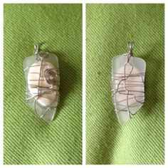 Genuine OBX Beach Glass / Sea Glass Pendant with Shell.