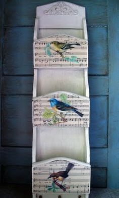 Sweet Bird Organizer Donna from My Shabby Chateau, brilliantly transformed an old brown wooden organizer, into the lovely fresh and pretty Bird Organizer that you see here! After painting this piece, Donna added a little more interest, by Mod Podging on some sheet music, along with some Vintage Bird Images. Lovely! Make sure you pop over and visit her to see the before photos ... and get her paint tips and techniques too!