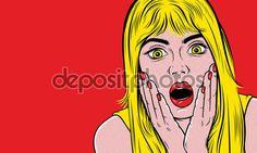 Скачать - Поп-арт удивил блондинка женщина — стоковая иллюстрация #130158978