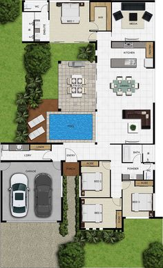 luxury villas tuscany 4 bedrooms, 2 baths, double garage, Private pool, and larg… - Architektur Pool House Plans, House Layout Plans, Dream House Plans, Modern House Plans, House Layouts, Floor Plan Layout, One Floor House Plans, 3d Architectural Visualization, Home Design Plans