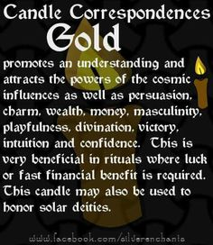 Gold Candle Correspondence Magick Book, Magick Spells, Candle Spells, Candle Reading, Witch Spell Book, Witchcraft For Beginners, Wiccan Crafts, Candle Magic, Practical Magic