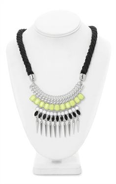 Deb Shops Statement #Necklace with Rope, Chains, Stones, and Dangling Stones $7.63