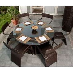 7 piece Round Wicker Outdoor Dining Set | Outdoor Furniture