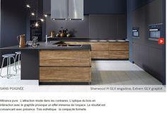 nouveauté cuisine design et contemporaine 2016 2017 le bois chaud et structuré s'harmonise avec une laque mate anthracite