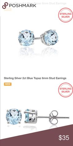NWOT Blue Topaz in Sterling Silver Studs New never worn Blue Topaz in Sterling Silver with butterfly backs size is 2 Carat no trades price firm Jewelry Earrings