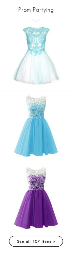 """""""Prom Partying"""" by cammms ❤ liked on Polyvore featuring dresses, vestidos, short dresses, blue, short prom dresses, prom dresses, short blue dresses, lace mini dress, aqua prom dresses and blue cocktail dresses"""