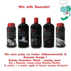 Win 1 of 2 Baumatic Cleaning Hamper sthat include a Dishwasher Degreaser, a Washing Machine & Dishwasher Descaler, an Induction & Ceramic Hob Cleaner, an Oven Cleaner, & a Stainless Steel Cleaner! To be in with the chance of winning, Repin this Pin & email us at marketing@baumatic.co.uk to tell us that you have done this. If you can, please do tell all your friends about Baumatic on Pinterest! The Winner will be emailed early next week! Good luck!